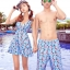 PRE ชุดว่ายน้ำคู่รัก หญิงเซ็ต 3 ชิ้น โทนฟ้า บรา กางเกงแต่งระบาย พร้อมชุดคลุมสวย thumbnail 1