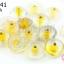 ลูกปัดแก้ว ทรงจานบิน สีเหลืองสอดไส้ (ใส) 11มิล(1ขีด/100กรัม) thumbnail 1