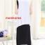 K784 ชุดเดรสคลุมท้องแฟชั่นเกาหลี โทนสีดำ เสื้อตัวนอกสีขาว เดรสตัวในสีดำยาว thumbnail 7