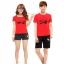 เสื้อยืดคู่รัก แฟชั่นคู่รัก ชาย + หญิง เสื้อยืดแขนสั้น แต่งสกรีนลายลูกศรสีแดง Love เสื้อสีแดง +พร้อมส่ง+ thumbnail 2