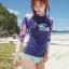 พร้อมส่ง ชุดว่ายน้ำแขนยาว สีสันสดใส เสื้อโทนชมพูม่วง บิกินี่สีฟ้าสวยๆ thumbnail 1