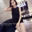 จั๊มสูทแฟชั่นเกาหลี แต่งคอเสื้อตามภาพ ช่วงตัวเสื้อและกางเกงทรงปล่อย สีดำ thumbnail 4