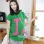 เสื้อพร้อมกางเกงคลุมท้อง สกีนลายไอแอม : สีเขียว รหัส SH038 thumbnail 1
