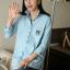 เสื้อคลุมท้องแฟชั่นเกาหลี โทนสีฟ้า แขนยาว เนื้อผ้าดี ใส่สบาย เหมาะกับคนแม่สมัยใหม่ค่ะ thumbnail 3