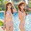 พร้อมส่ง ชุดว่ายน้ำเอวสูงวินเทจ ลายดอกไม้สวยโทนชมพู บราผูกหลัง ปรับได้ตามสรีระ thumbnail 2