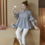 K114221 เสื้อคลุมท้องแฟชั่นเกาหลี โทนสีดำสลับ thumbnail 8
