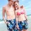 PRE กางเกงขาสั้นคู่รัก Couple beach pant ลายดอกไม้โทนน้ำเงินดำสวย thumbnail 1