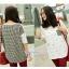 เสื้อคลุมท้องแขนสั้น กระเป๋าลายสก็อต : สีขาว รหัส SH207 thumbnail 2