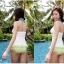 พร้อมส่ง ชุดว่ายน้ำ Tankini ตัวเสื้อยาวจับจีบเย็บย่นด้านข้าง กางเกงสีเขียวอ่อนสวยสไตล์เกาหลี thumbnail 3
