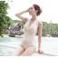 พร้อมส่ง ชุดว่ายน้ำวันพีชสายคล้องคอ สีขาวงาช้าง ผ้าตาข่ายมีซับด้านใน จีบย่นด้านข้างสวยๆ thumbnail 5