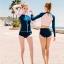 ชุดว่ายน้ำแขนยาว เสื้อเอวลอยสีชมพู กางเกงกรมท่าแถบข้างสีส้ม thumbnail 3