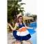 พร้อมส่ง ชุดว่ายน้ำทรงแซก เซ็ต 2 ชิ้น สายคล้องคอ สลับสีส้ม ขาว น้ำเงินสวยๆ thumbnail 9