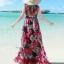 พร้อมส่ง พื้นสีดำ ผ้าชีฟอง ลายดอกไม้สีโทน แดงทั้งชุด คอวี จั้มช่วงหน้าอก ชายกระโปรงมีสองชั้น สวย thumbnail 2