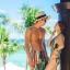 PRE ชุดว่ายน้ำคู่รัก หญิงวันพีซโมโนกินี่พิมพ์ลายสวย ชายกางเกงขาสั้นลายเดียวกัน thumbnail 2