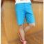 กางเกงคู่รัก ชาย + หญิงกางเกงขาสั้น แบบรูดซิบ ลายสีเรียบ สีฟ้า +พร้อมส่ง+ thumbnail 7
