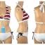 พร้อมส่ง ชุดว่ายน้ำ Bikini ผูกข้าง บราลายขวางสวย กางเกงสีขาวสายเชือกผูกข้างและมีซับในทั้งตัว thumbnail 9