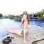 PRE ชุดว่ายน้ำคู่รัก หญิงเซ็ต 3 ชิ้น โทนฟ้า บรา กางเกงแต่งระบาย พร้อมชุดคลุมสวย thumbnail 5
