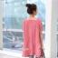 เสื้อคลุมท้องแขนสั้น ลายขวาง มีกระเป๋าข้าง : สีแดง-ขาว รหัส SH210 thumbnail 2