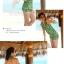 พร้อมส่ง ชุดว่ายน้ำบิกินี่ทูพีซสีส้มสด พร้อมชุดคลุมเอี๊ยมกางเกงขาสั้นลายหัวใจสีเขียวสวย thumbnail 3