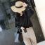 เสื้อแฟชั่นเกาหลี แขนยาว เย็บแต่งแขนเสื้อแบบตะเข็บนอกเก๋ๆ สีดำสุภาพ thumbnail 3