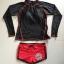 ชุดว่ายน้ำแขนยาว เสื้อสีดำ กางเกงขาสั้นสีแดงสวยๆ thumbnail 6