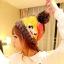 หมวกไหมพรมแฟชั่นเกาหลีพร้อมส่ง ทรงดีไซต์เก๋ หมวกสีน้ำตาล แต่งลายยิ้มสีเหลือง โบว์สีแดง มีจุก thumbnail 1