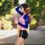 ชุดว่ายน้ำแขนยาวสีชมพู-น้ำเงิน กางเกงขาสั้นสีดำ thumbnail 4