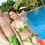 PRE ชุดว่ายน้ำคู่รัก บิกินี่ ลายสวย พร้อมชุดคลุมเอี๊ยม มีฮู้ด thumbnail 8