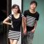 เดรสคู่รักเกาหลี แฟชั่นคู่รัก ชายเสื้อยืด+ หญิงเดรสแขนสั้น สีดำ แต่งลายขาวดำ +พร้อมส่ง+ thumbnail 1