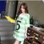 เสื้อคลุมท้องแขนสั้น ลายขวางสกีนเลขห้า : สีเขียว รหัส SH213 thumbnail 12