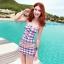 PRE ชุดว่ายน้ำคู่รัก ชุดว่ายน้ำ Tankini สายสปาเก็ตตี้ ลายสก๊อตน่ารักสดใส กางเกงกระโปรง thumbnail 2