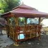 ศาลาโดม2ชั้นที่นั่ง3ด้านไม้ประดู่