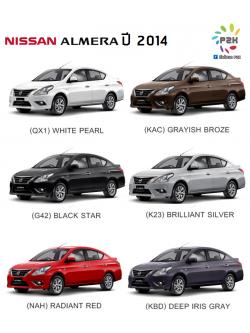 สีแต้มรถ Nissan Almera (นิสสัน อัลเมร่า) ปี 2014