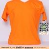 E.เสื้อยืด เสื้อt-shirt คอวี สีส้ม ไซค์ขนาด 32 นิ้ว