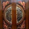 ประตูไม้สักกระจกนิรภัย แกะมังกร หงส์ กรด A รหัสA19