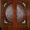 ประตูไม้สักกระจกนิรภัยแกะดอกไม้ NNA28