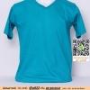 E.เสื้อยืด เสื้อt-shirt คอวี สีเขียวสมอ ไซค์ขนาด 32 นิ้ว