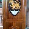 ประตูไม้สักบานเดี่ยว แกะสิงห์ เกรดA,B+ รหัสAA09