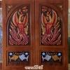 ประตูไม้สักบานคู่ แกะหงส์คู่ ปลาเงิน-ทอง เกรดA รหัสBB16