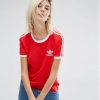 adidas Originals California Three Stripe T-Shirt Red