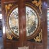 ประตูไม้สักกระจกนิรภัย แกะหงส์-มังกรNNA33