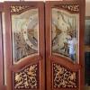 ประตูไม้สักกระจกนิรภัยปีกนก แกะดอกไม้ลายไทย NNA14