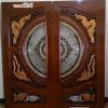 ประตูไม้สักกระจกนิรภัย แกะหงส์-มังกร,ปลาเงิน-ปลาทองNNA27