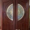 ประตูไม้สักกระจกนิรภัยบานเรียบ