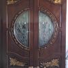 ประตูไม้สักกระจกนิรภัย แกะดอกไม้NNA34