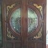 ประตูไม้สักกระจกนิรภัย แกะหงส์-มังกรNNA32