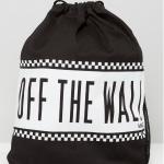 กระเป๋าเป้สะพายหลัง เชือกรูด จาก VANS สีดำคาดขาว