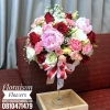 แจกันดอกไม้ พีโอนี่ กุหลาบแดง (XL)