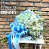 ช่อดอกไม้วันเกิด สีฟ้าพาสเทล แบบเปลือยก้าน