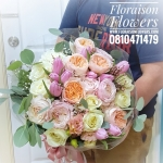 ช่อดอกกุหลาบอังกฤษ English Rose และทิวลิป สีพาสเทล